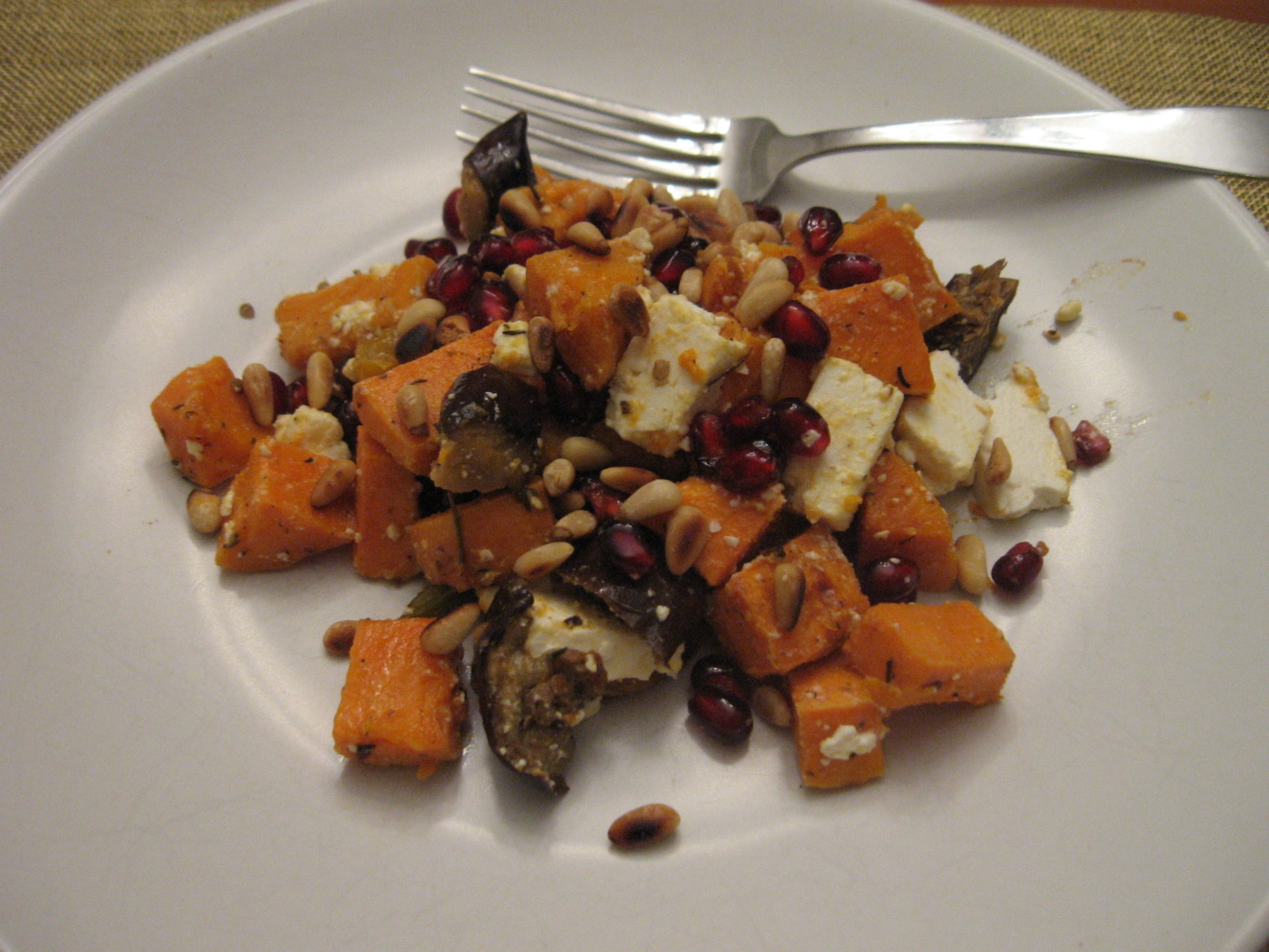 Roasted Yam Salad with Pomegranate and Feta