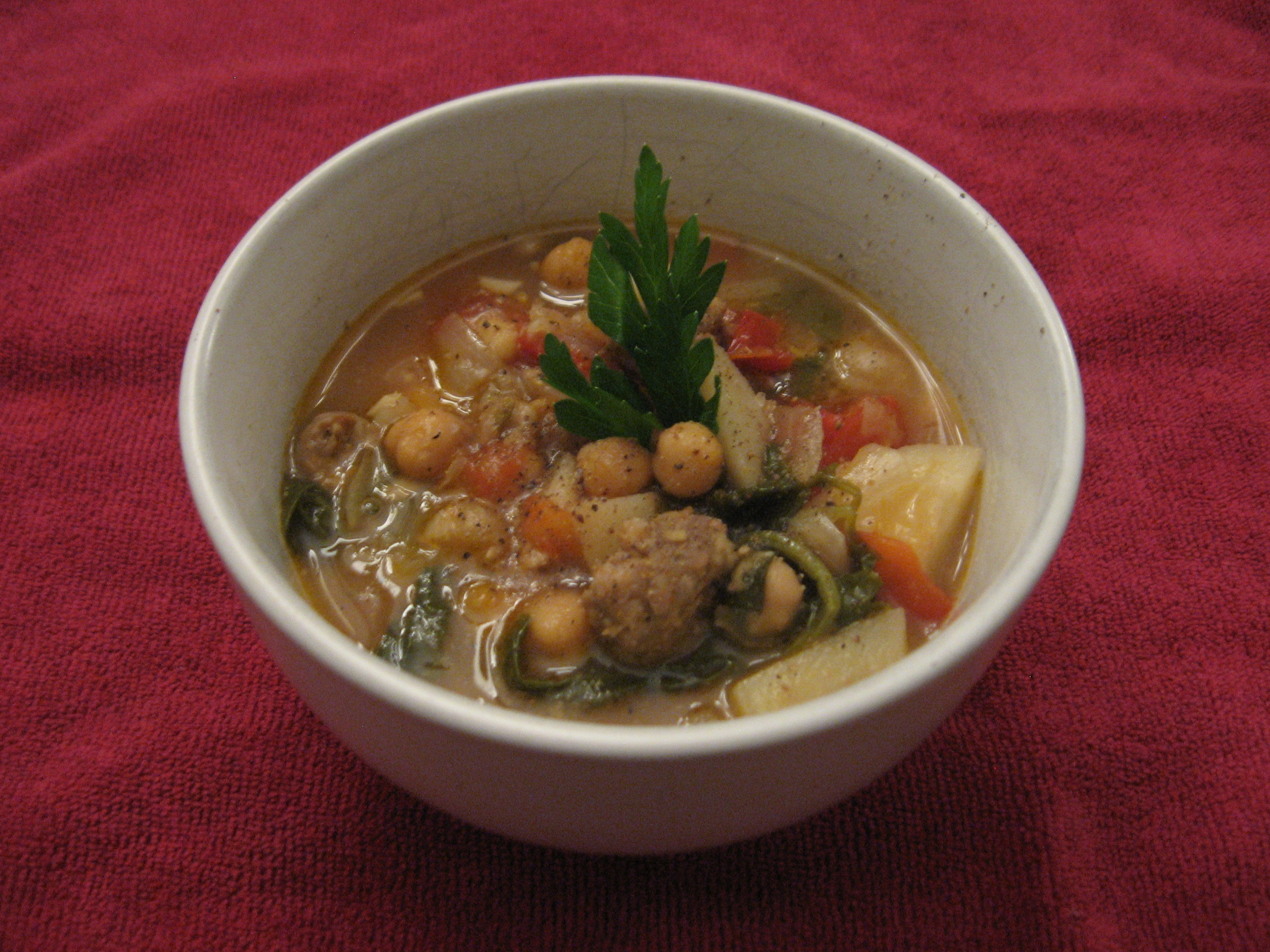 Chorizo and Kale Soup: Rachel Ray Meets The Honest Butcher (well their Chorizo anyway)