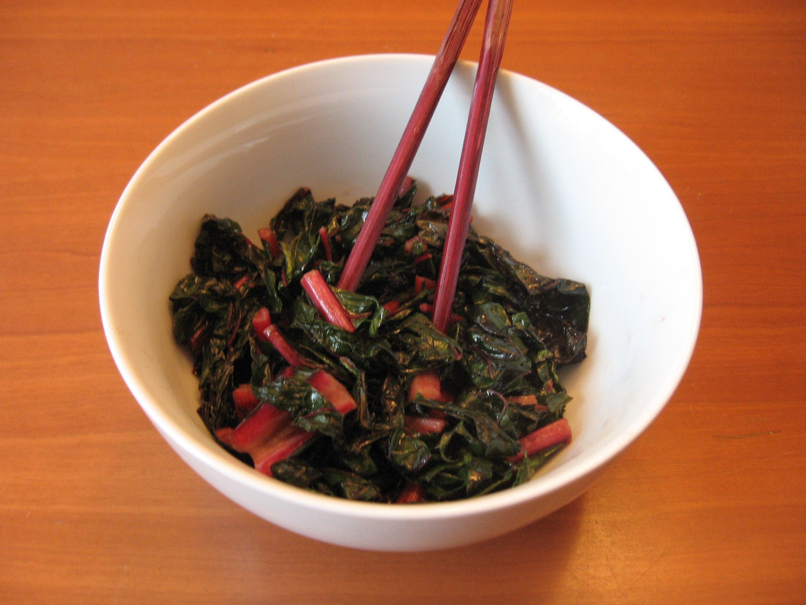 Red Swiss Chard Sauteed with Garlic and Red Pepper Flakes