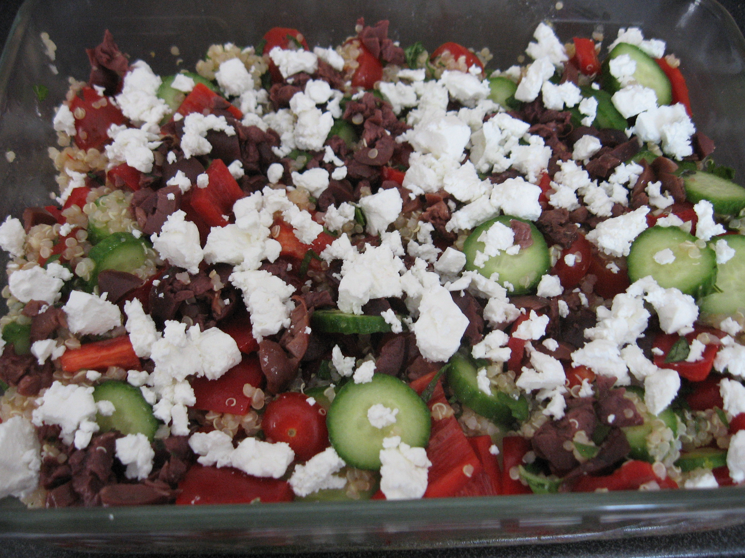 Quinoa and Veggie Salad with Fresh Herbs and Olives