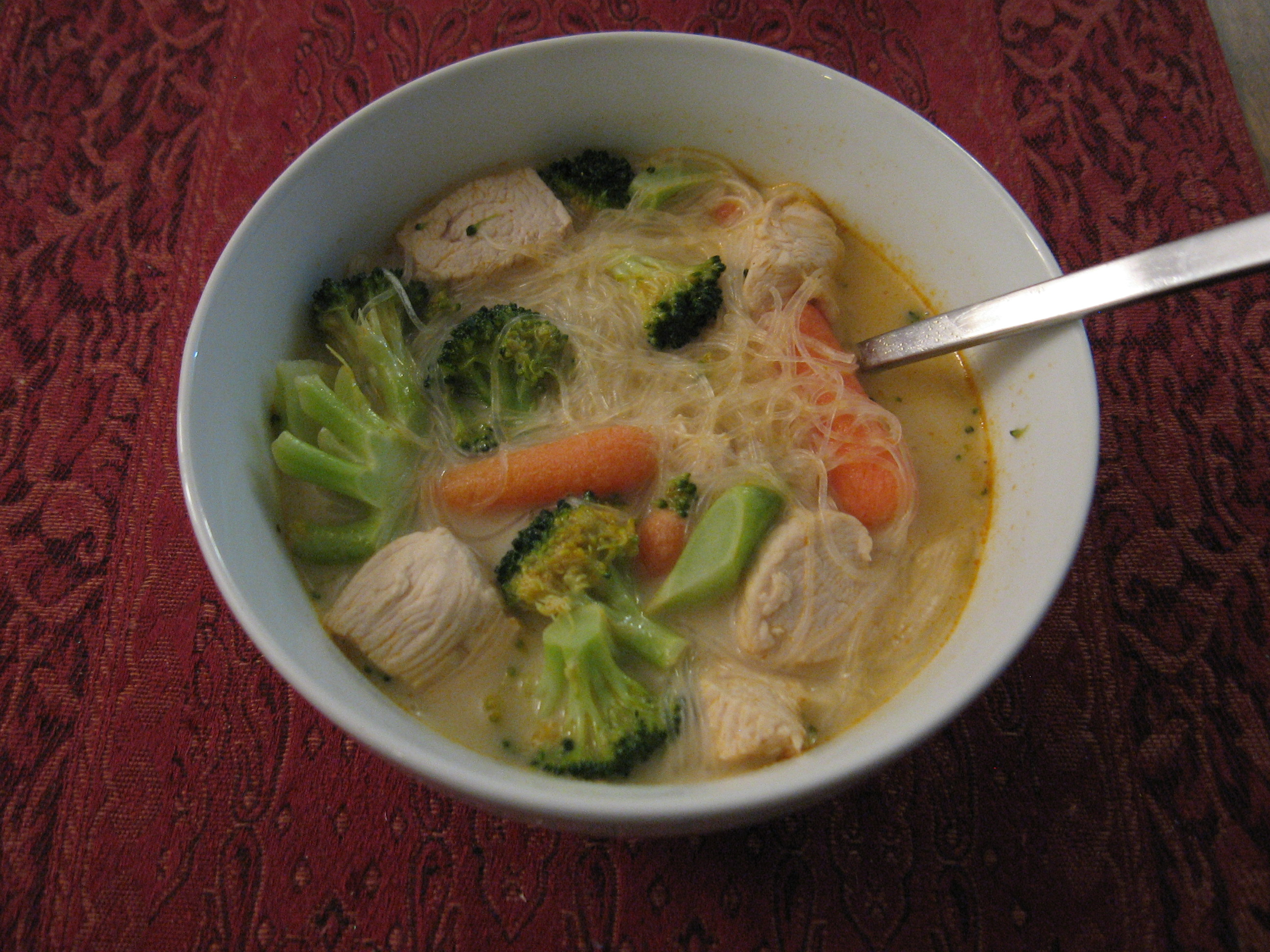 Thai Tom Kha Gai soup with Chicken and Rice Vermicelli Noodles