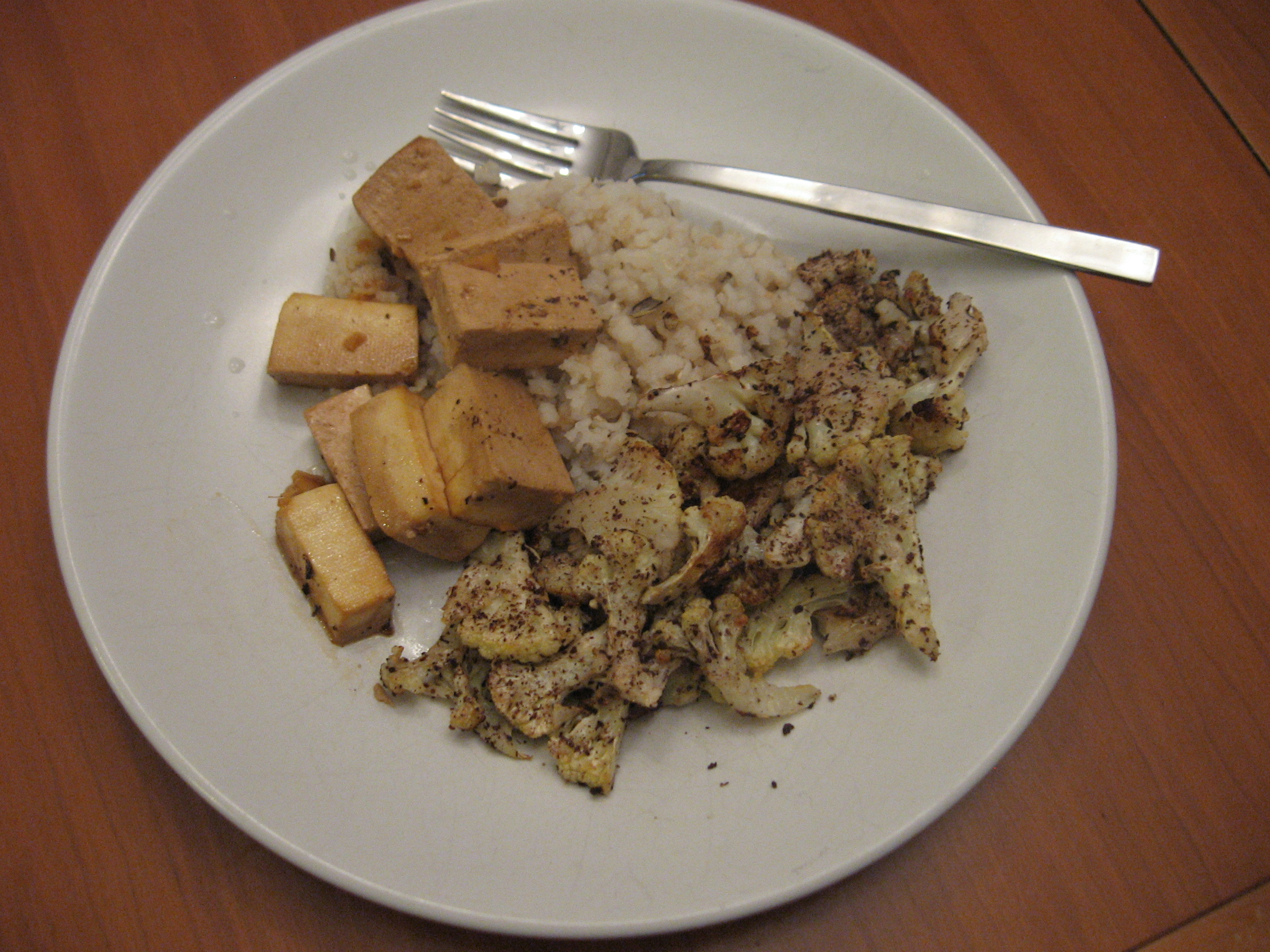 Roasted Cauliflower, Asian Baked Tofu and Brown Rice