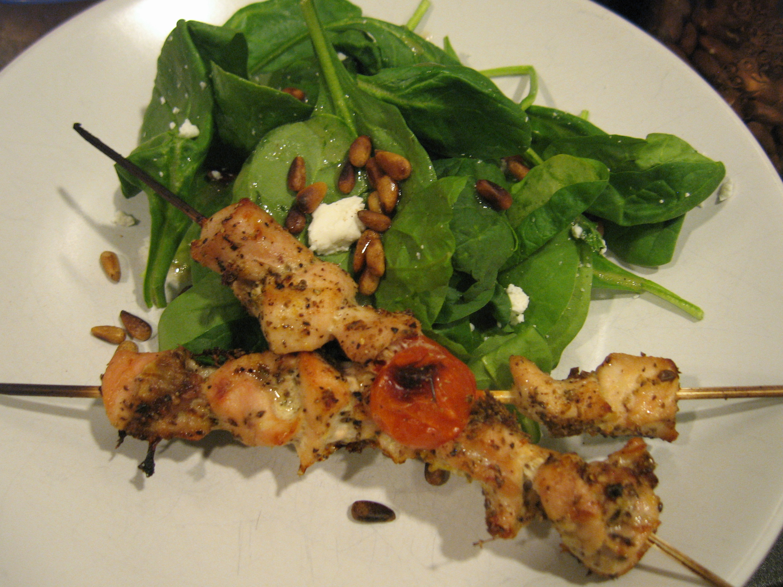 Baked Chicken Kabobs and Spinach Salad