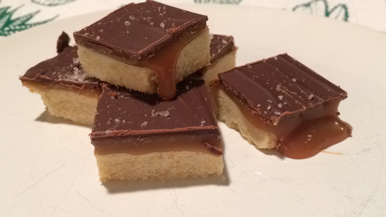 Orange Zested Shortbread with Salted Caramel and Chocolate