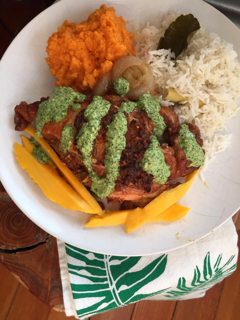 Peruvian Chicken with Green Sauce and Coconut Rice Infused with Lemon Grass and Kafir Lime Leaves