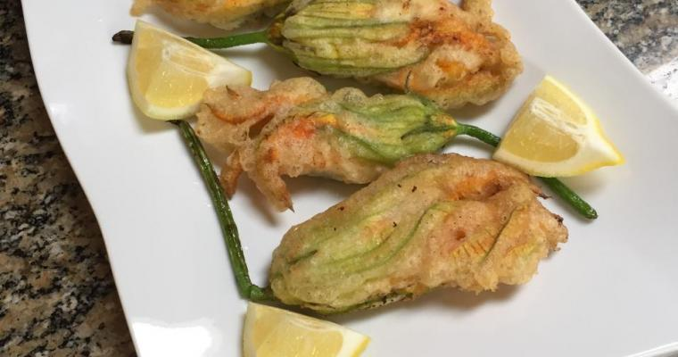 Pan Fried Zucchini Flowers Stuffed with Ricotta and Fresh Oregano
