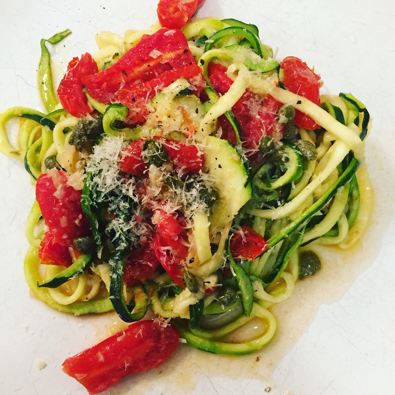 Zucchini Noodles with Capers and Tomatoes